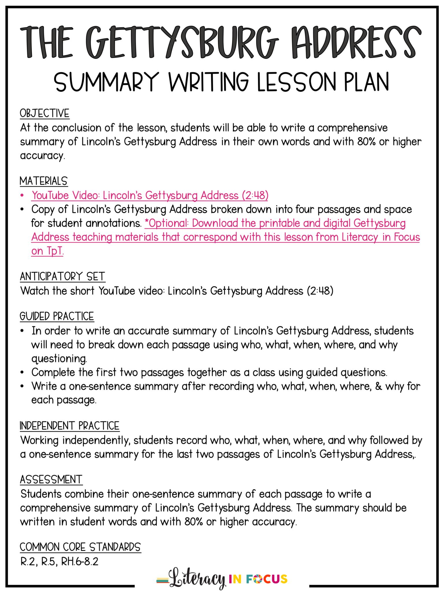 hight resolution of The Gettysburg Address Summary Writing Lesson   Summary writing