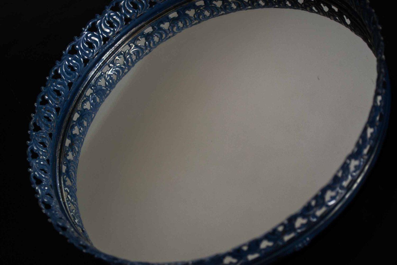 White vanity mirror vintage mirror vanity tray vintage mirrored - Vintage Vanity Mirror Tray Navy Blue Filigree Vanity Tray Mirrored Tray