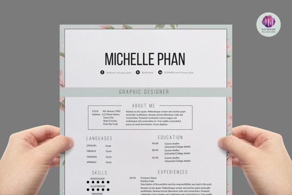 Elegant 2 page resume template + cover letter template / modern CV ...