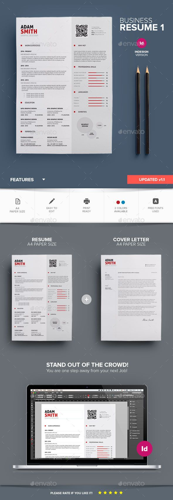 Clean Resume Download%0A Clean Business Resume InDesign Template  u     Download      https   graphicriver net