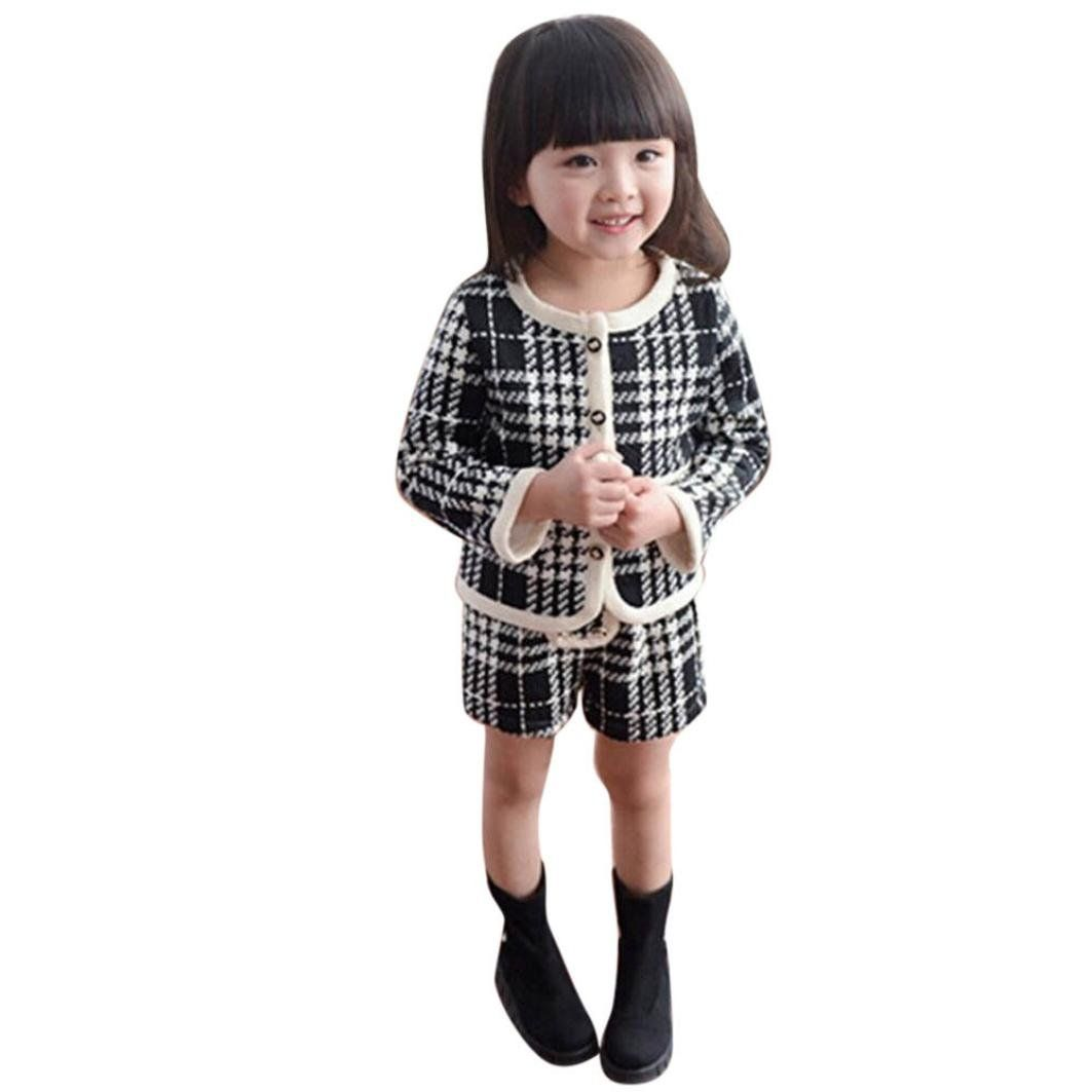 Feitong toddler kids baby girls outfit plaid cardigan coat tops