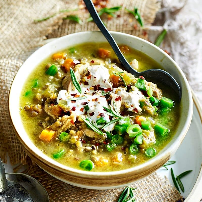 Chicken And Lentil Soup With Spiced Yoghurt Healthy Recipe Ww Australia Recipe In 2021 Lentil Soup Chicken Recipes Recipes