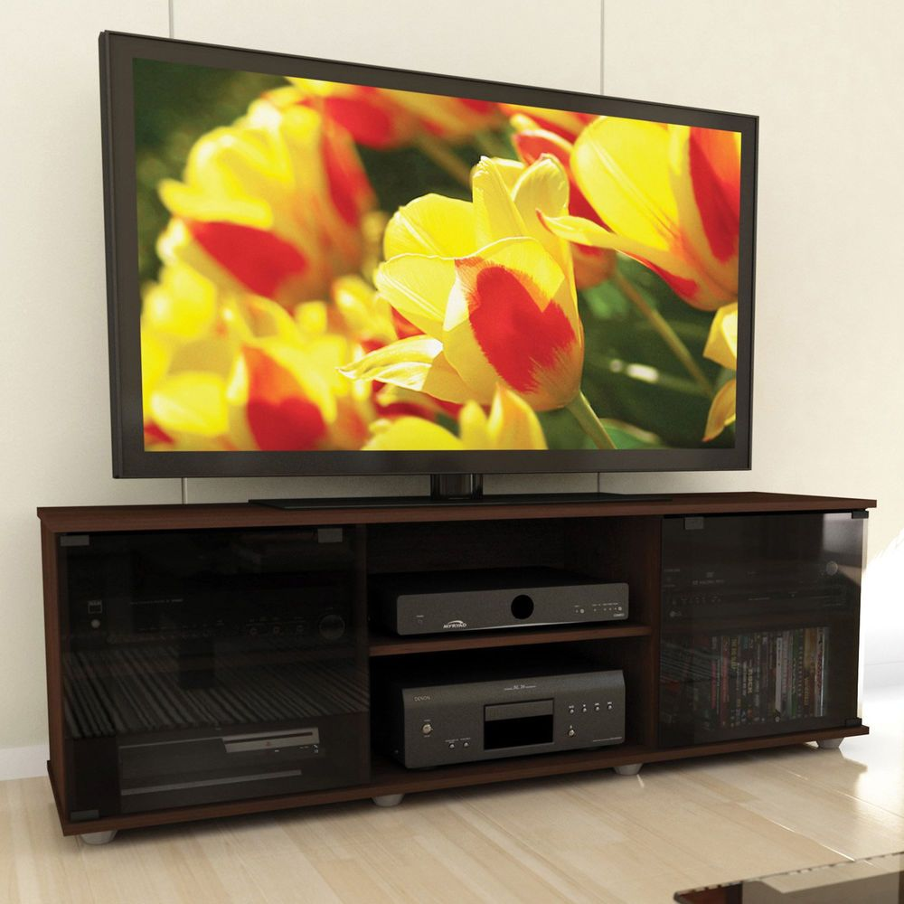 Flat Screen Tv Stand Media Storage Console Cabinet Wood Entertainment Center 64 Sxentertainmentcenters