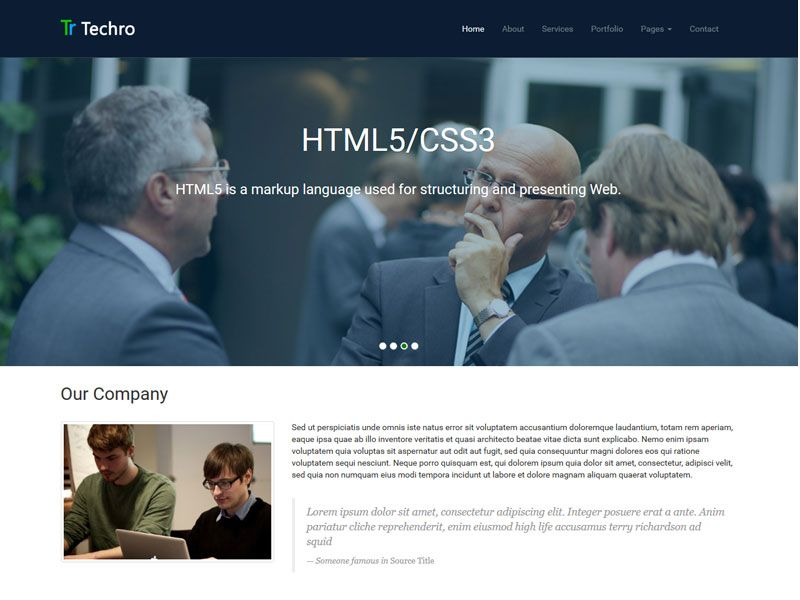 FREE #Bootstrap Template multi page website build with Bootstrap3.1.1, #HTML5 & CSS3 and jQuery – Techro. Check it out and grab it! ->http://goo.gl/skukdb More free Bootstrap templates at http://goo.gl/Hvxouz