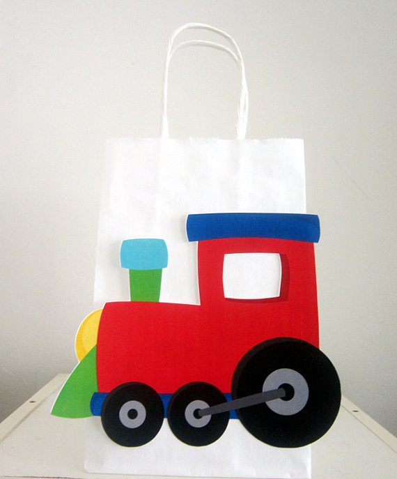 Train Goody Bags Train Birthday Party Bags Train by CraftyCue