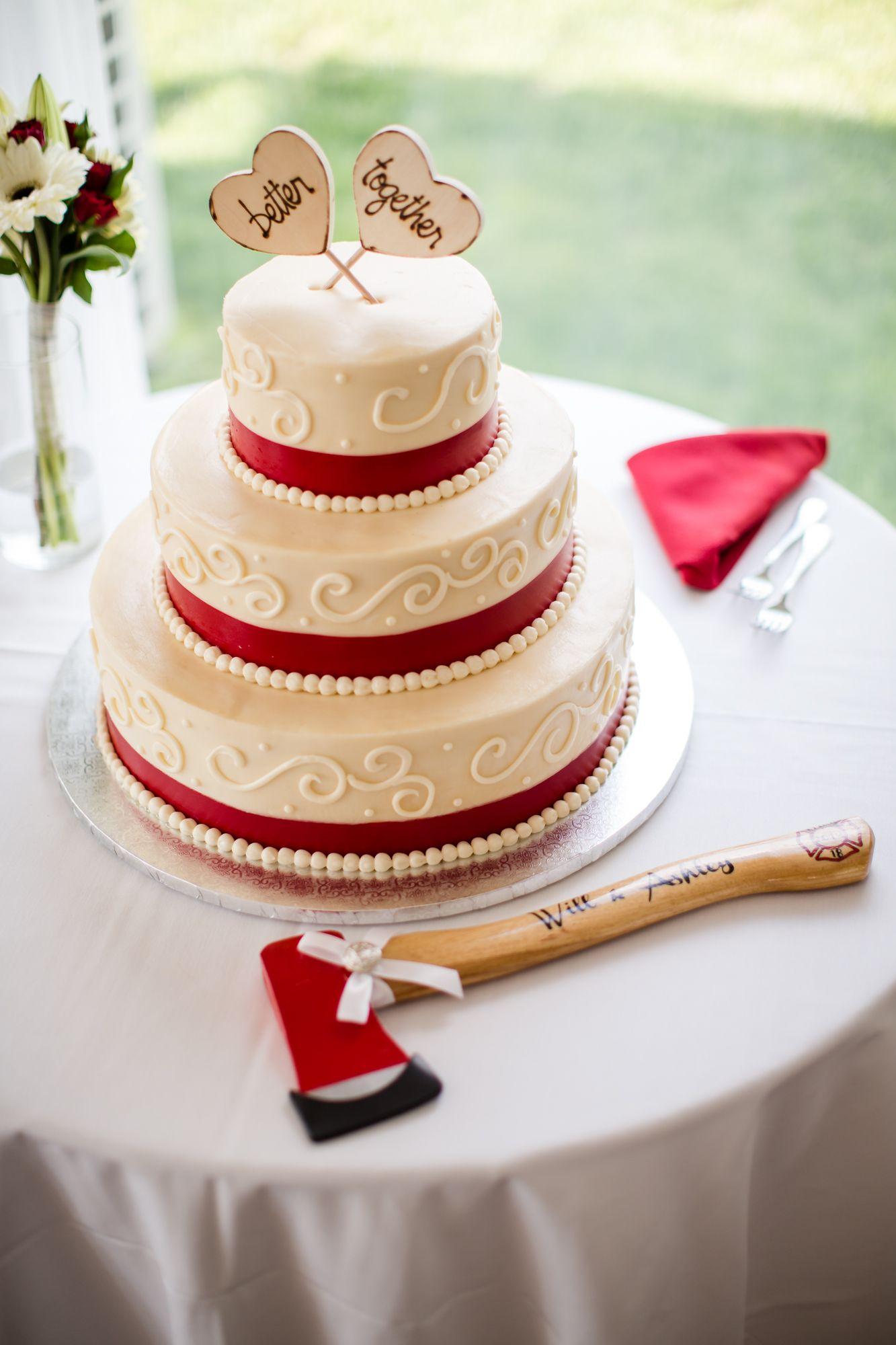 Ivory wedding cake with red ribbon wedding cake ideas pinterest