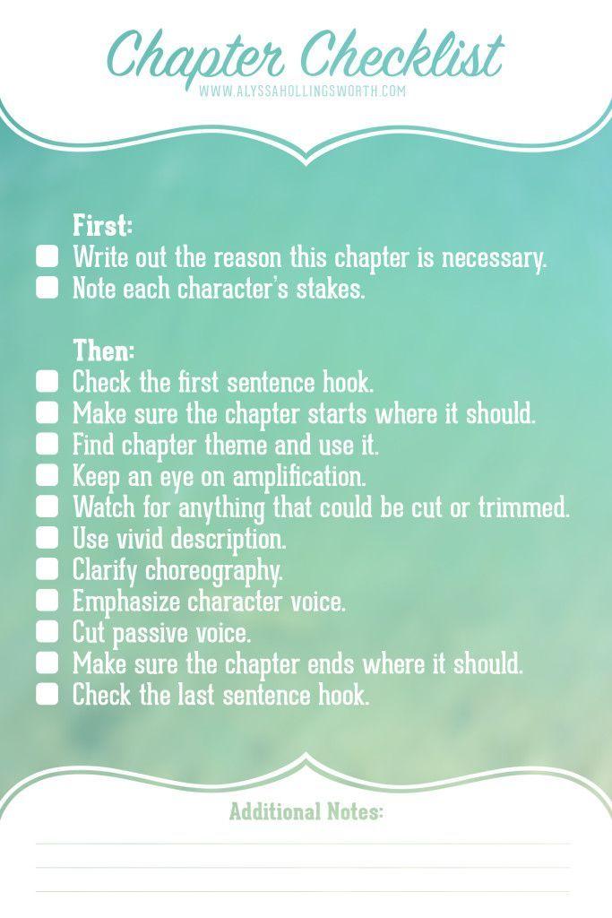 chapter revision checklist  alyssa hollingsworth  book