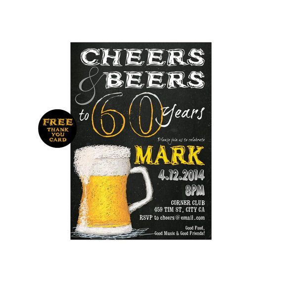Cheers to 60 years or any age beer birthday party invitation cheers to 60 years or any age beer birthday party invitation 40th stopboris Choice Image