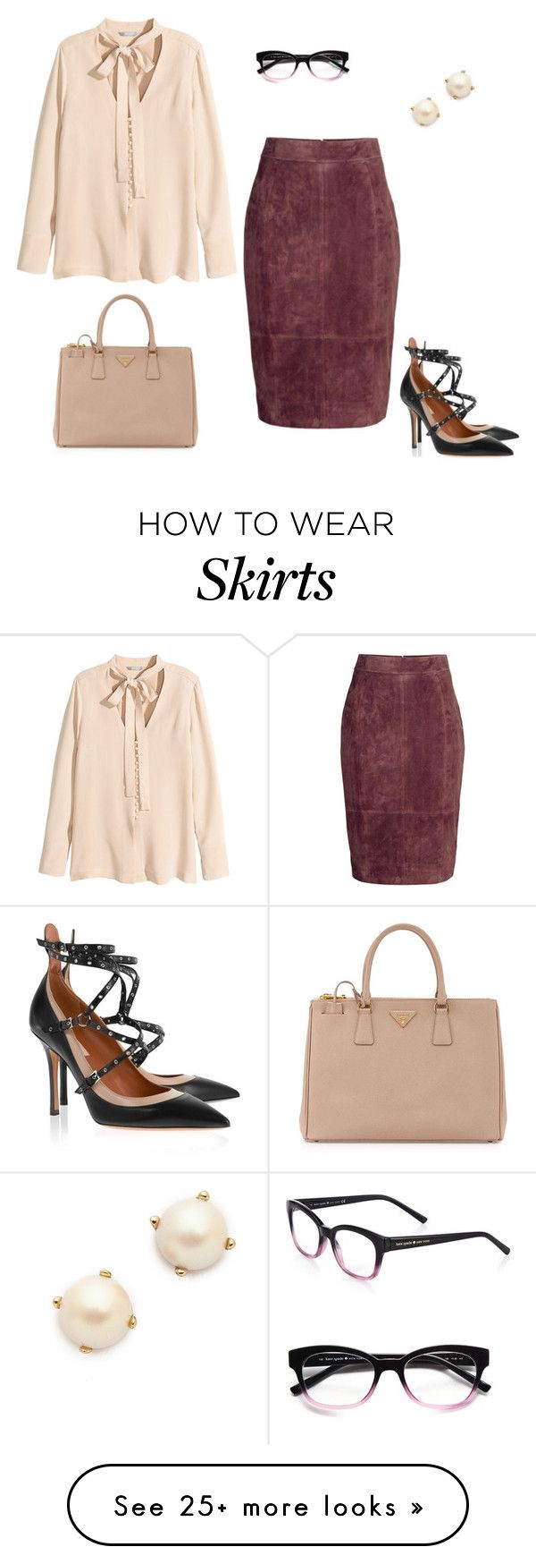 """""""Suede Pencil Skirt"""" by jpschwartz on Polyvore featuring H&M, Valentino, Prada and Kate Spade"""