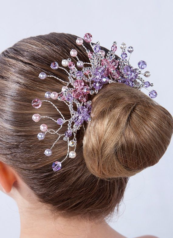 Items similar to Bun Wrap Tiara for Ballet, Classical Dance or Figure Skating - Sparking Headpiece with Mauve and Lilac Swarovski Crystals on Etsy