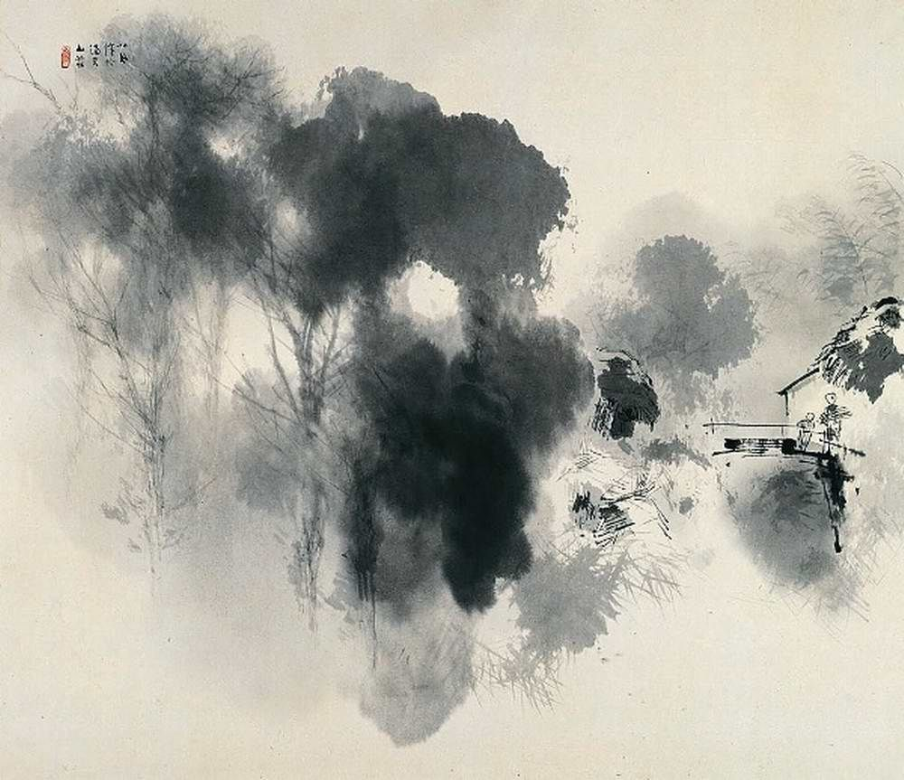 Asian Style Painting Black And White Landscape