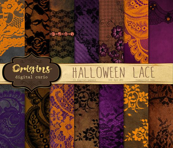 Halloween Lace Digital Paper Creativework247 Rustic HalloweenHalloween PropLace BackgroundVictorian