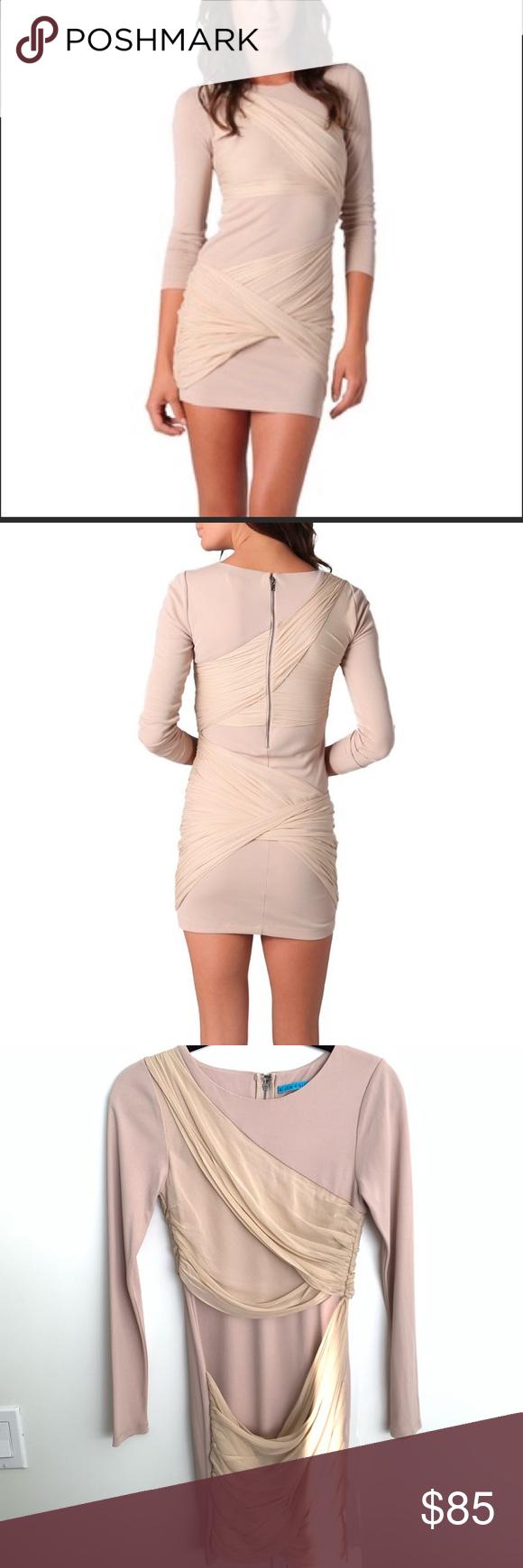 Alicia Olivia Tan Long Sleeve Dress With Drapery Long Sleeve Dress Dresses Clothes Design [ 1740 x 580 Pixel ]