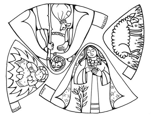 Cut Out Nativity Scene Coloring Page Kids 39 Craft