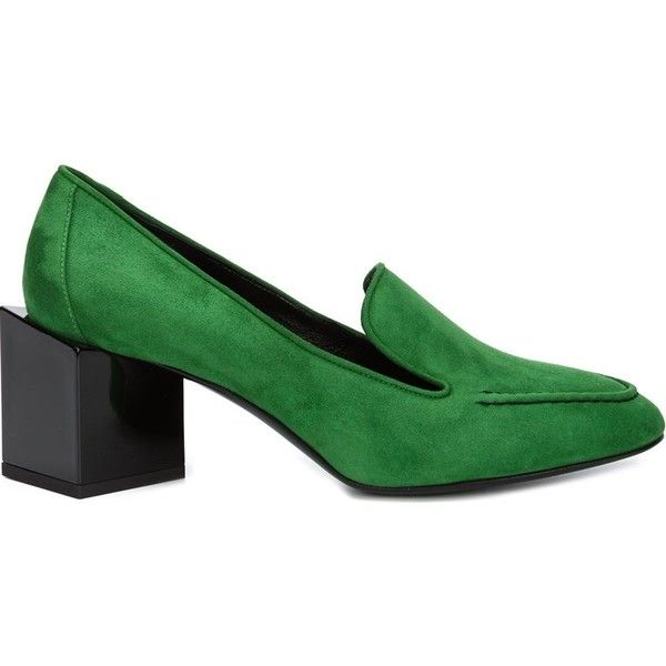 Pierre Hardy 'Kinks' pumps (22,055 THB) ❤ liked on Polyvore featuring shoes, pumps, green, round cap, round toe pumps, green leather pumps, chunky pumps and round toe shoes