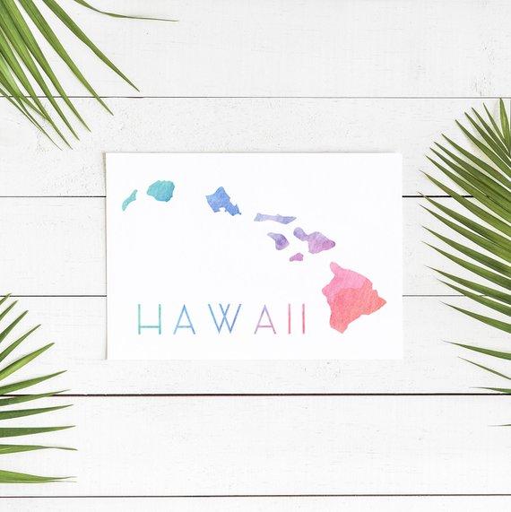 Hawaii Map Print, Hawaii State Map, Hawaii State Sign, Hawaiian