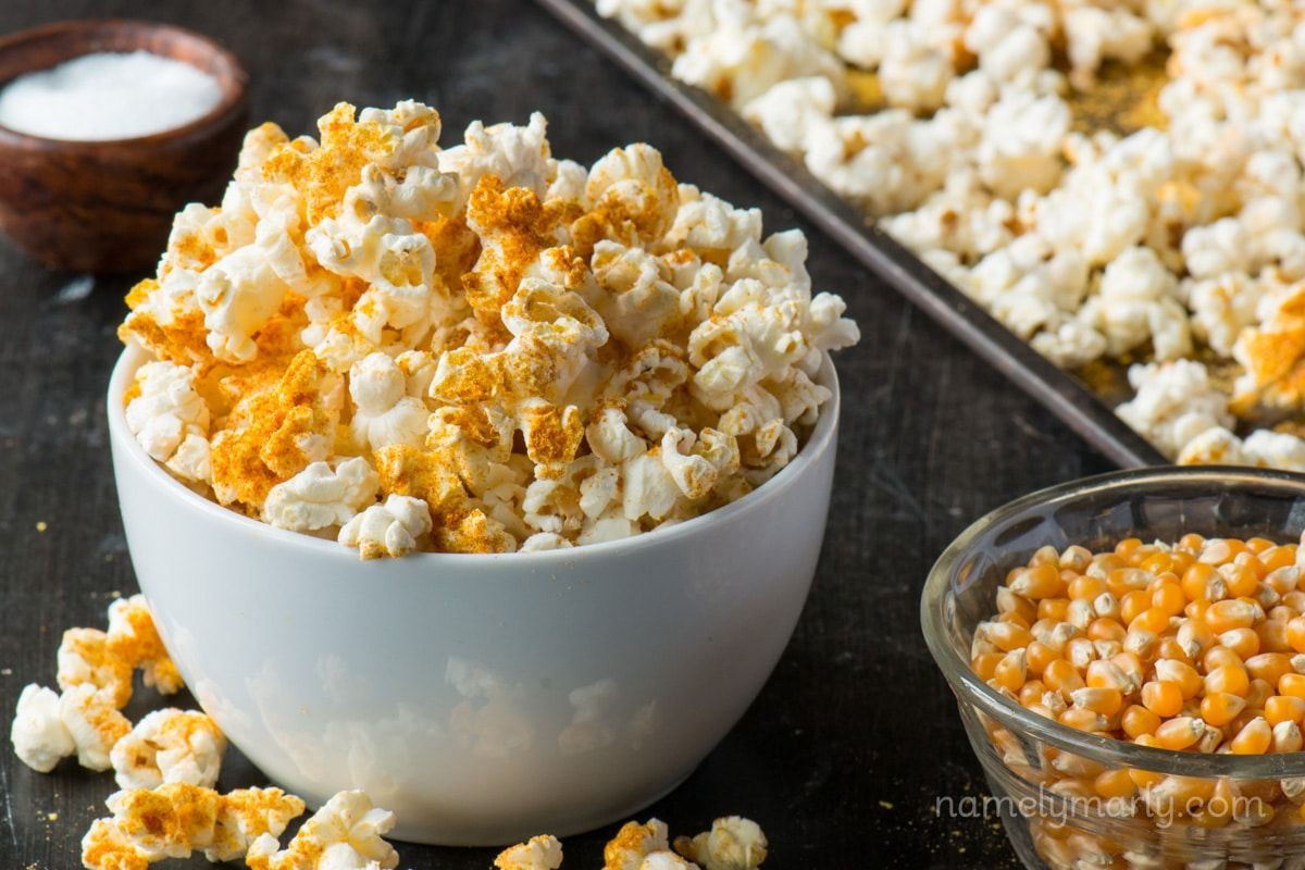 Diy microwave popcorn with a vegan cheesy popcorn recipe