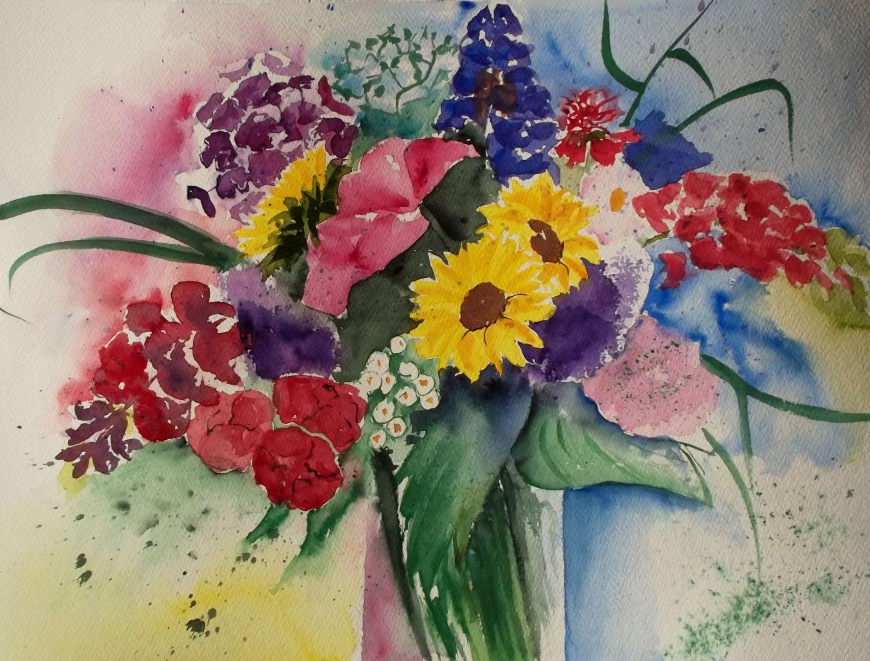 Bouquet of Summer Flowers Watercolor Original Large by JohannaArt