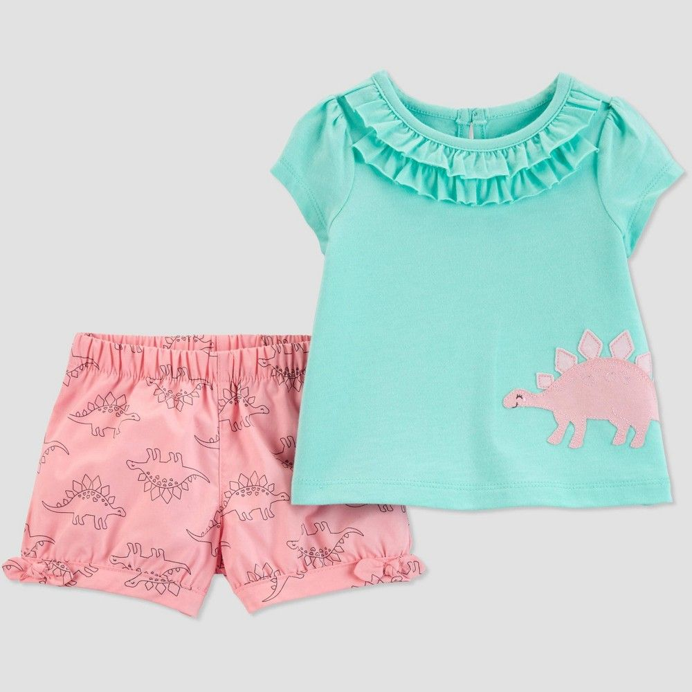ce7254919 Baby Girls' 2pc Dino Top And Bottom Set - Just One You made by carter's  Turquoise/Pink 18M, Blue