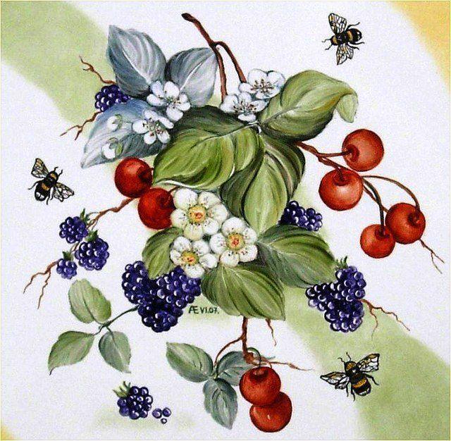 картинки с ягодами декупаж краску стену