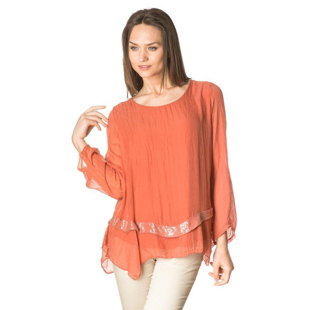 Orange asymmetric silk blouse