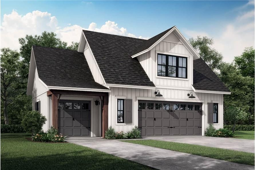 Garage With 3 Car 1 Bedrm 522 Sq Ft Plan 142 1249 In 2020 Guest House Plans Farmhouse Style House Plans Farmhouse Style House