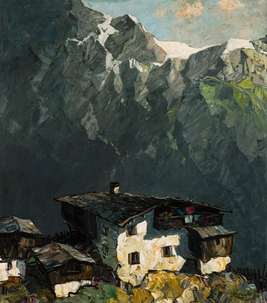 Oskar Mulley (Austrian, 1891-1949), Gehöft im Gebirge [Homestead in the mountains]. Oil on canvas, 109.5 x 97.5 cm.