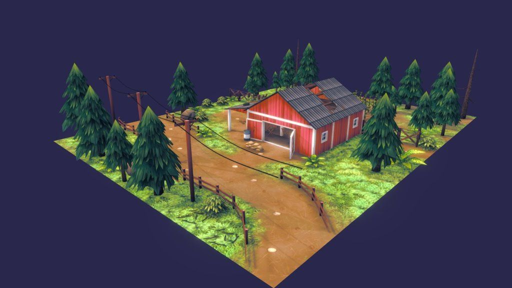 3d Model Barn By Justwo Texture Painting Hand Painted Textures