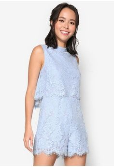 993c8c5f6c7 Double Layer Lace Romper from Something Borrowed in blue 1