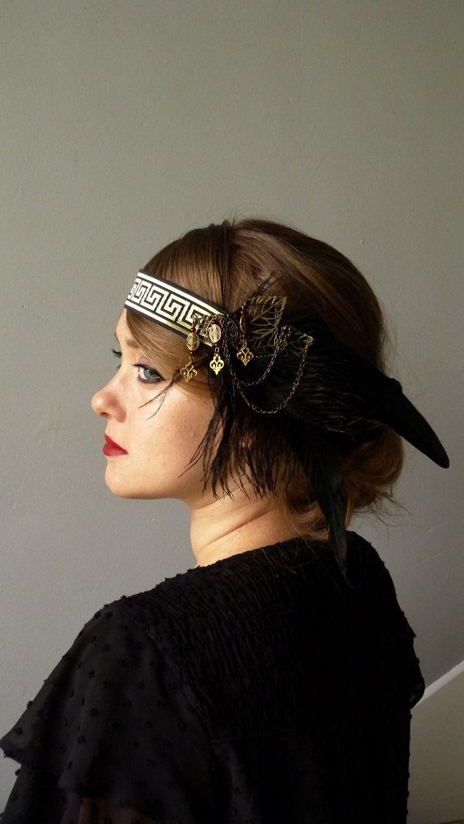 Plume noire bandeau 1920s garçonne coiffe great gatsby 1930s vintage fête
