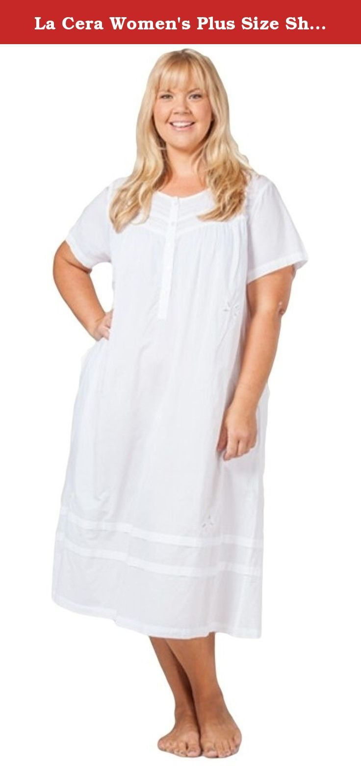 La Cera Women s Plus Size Short Sleeve Mid-Length Nightgown 3X White. This  incredibly soft plus size La Cera cotton nightgown is gently gathered in  the ... cabc18a5e
