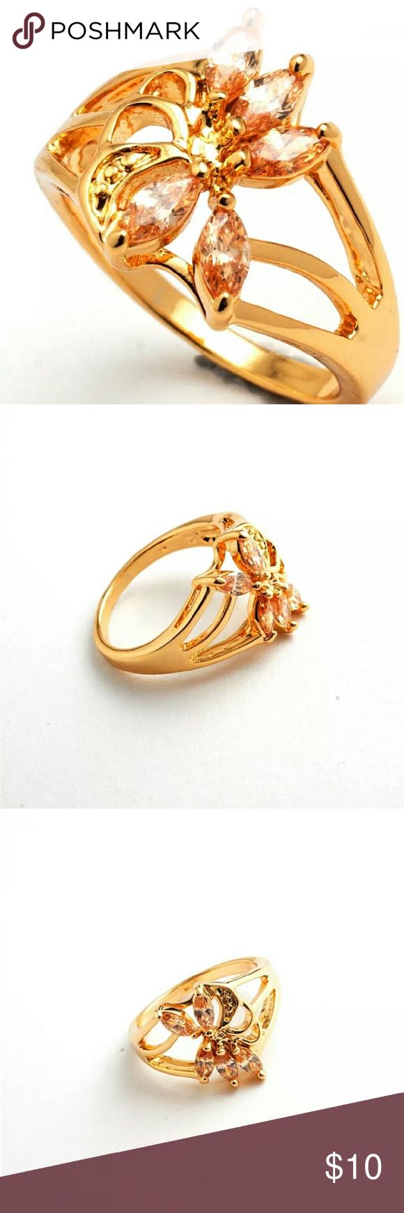 18K Gold Filled Orange C.Z Ring 18K Gold Filled Orange C.Z Ring  Size 7 Jewelry Rings