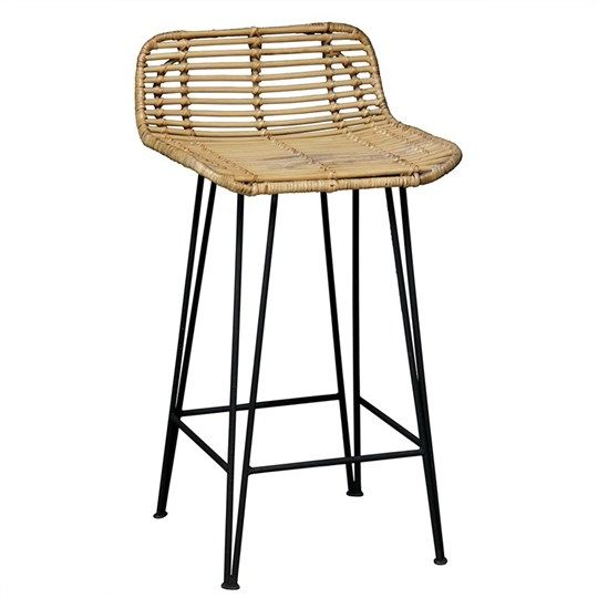 Beau Rattan And Iron Bar Stool   Bar Stools