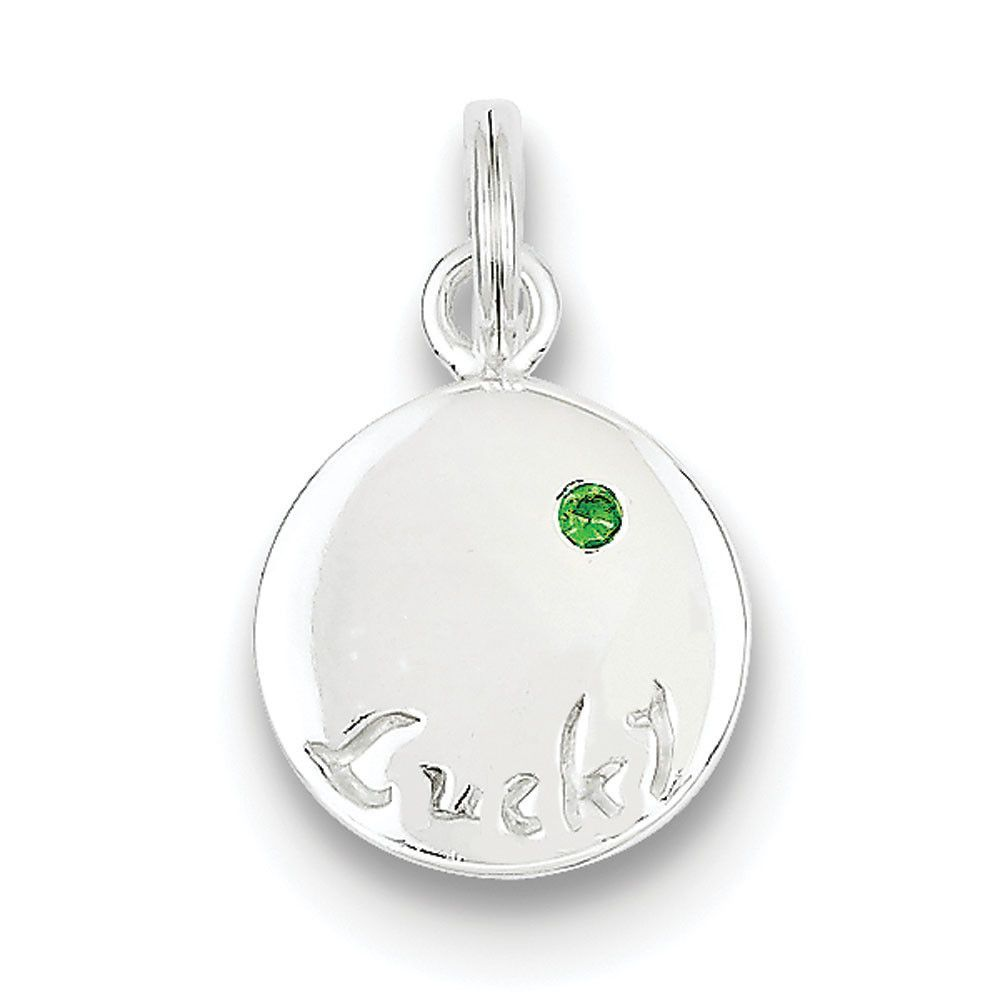 Emerald Pendant in Sterling Silver - Round Shape - Spectacular