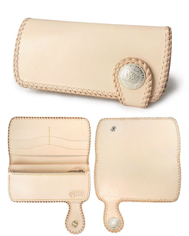 Samurai Craft | Rakuten Global Market: A long wallet A-2 saddle leather natural double stitch leather wallet is handmade #leatherwallets