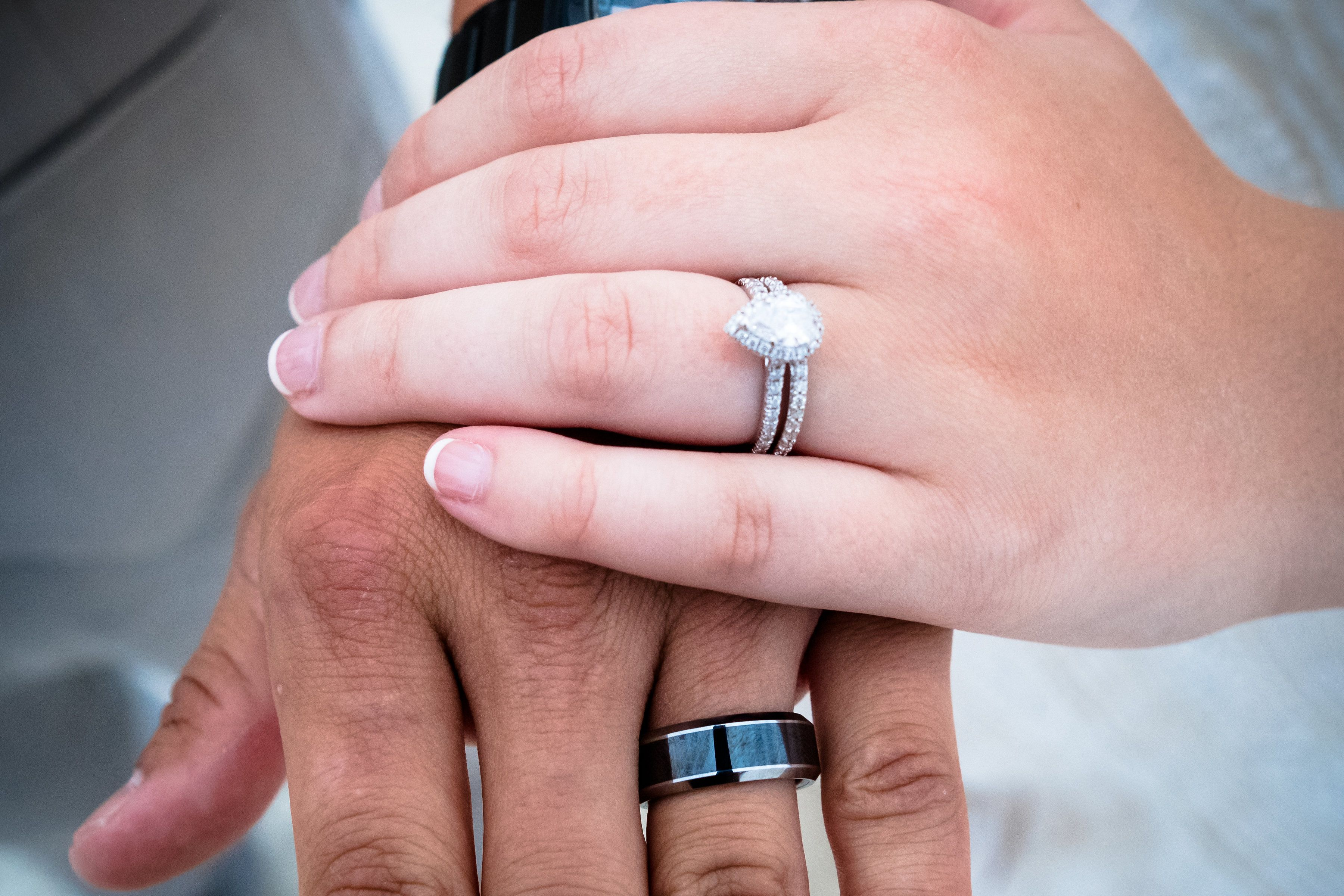 his and her wedding rings shot | Put a Ring on It | Pinterest