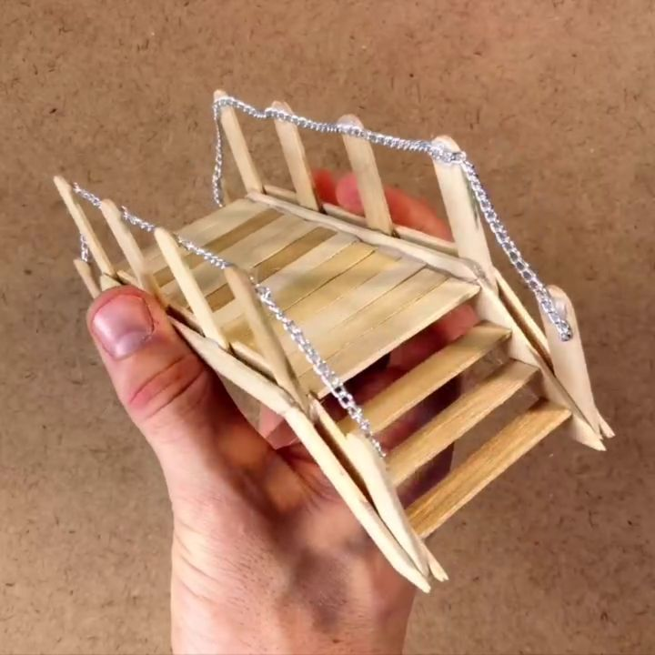 Photo of Popsicle stick bridge. This is a little bridge I made that would be perfect for …,  #Bridge…