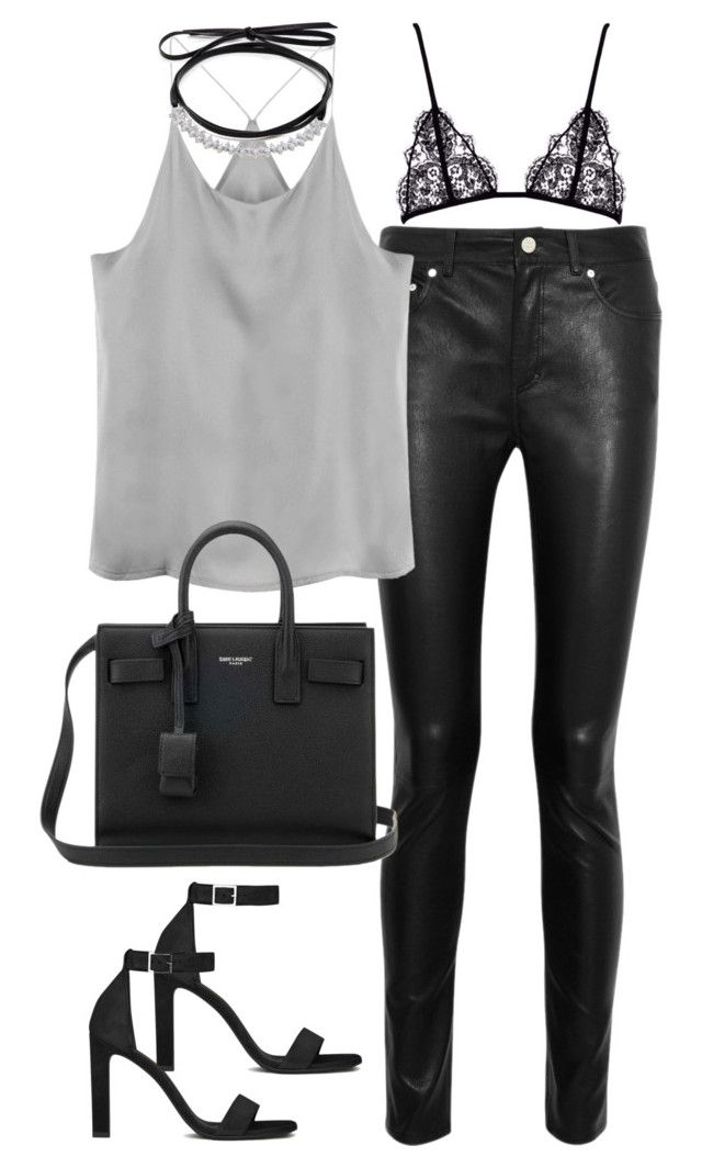 """""""Untitled#4640"""" by fashionnfacts ❤ liked on Polyvore featuring Acne Studios, Fallon and Yves Saint Laurent"""