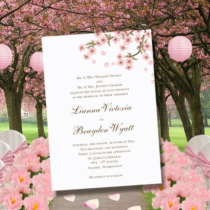 Cherry Blossom Printable Wedding Invitations Editable Worddoc - Make your own wedding invites templates