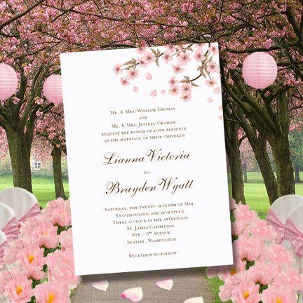 cherry blossom printable wedding invitations editable word.doc, Wedding invitations