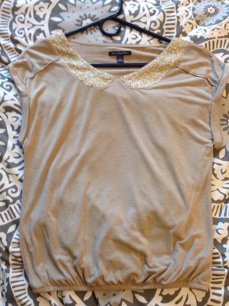 6d217ad3333c american eagle womens blouse xs tan with sequined neck accent ...