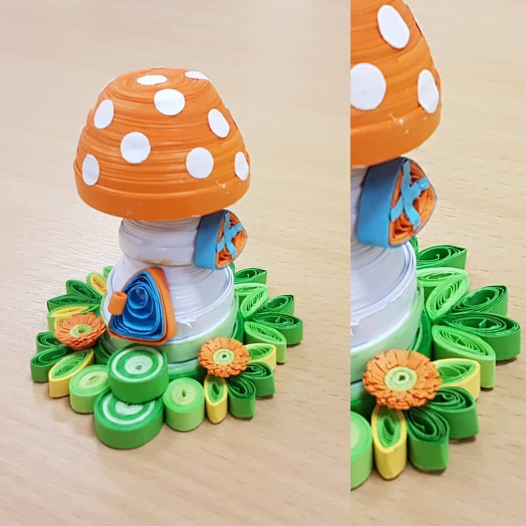 Did you notice the difference from the earlier post Added the small flowers around the mushroom house  Quilling could be the artwork of constructing images objects and 3D...