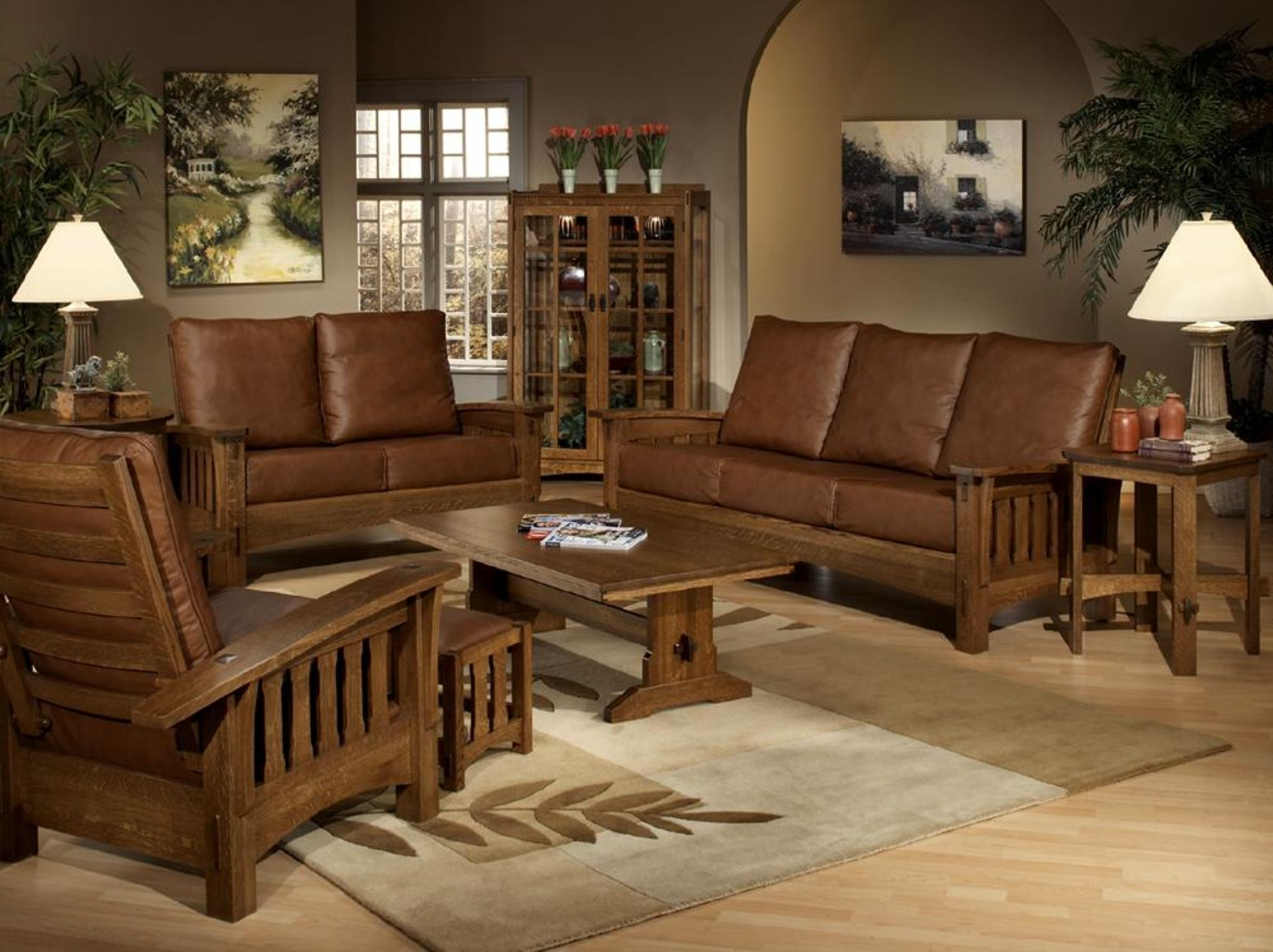 Furniture dark brown leather sofa set with brown wooden arms and