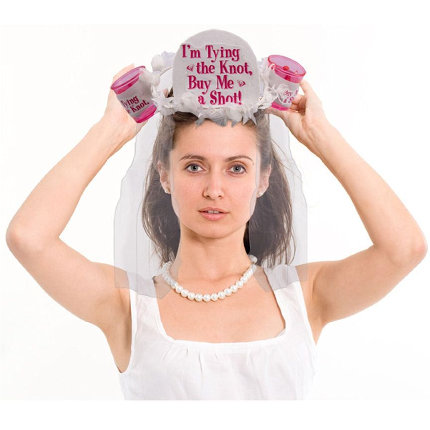 I'm Tying the Knot, Buy Me a Shot Veil with Shot Glasses $12.99 kinda silly