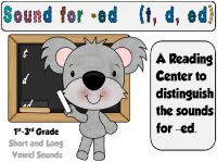 Freebie!! Sounds for -ed Ending Center/Activity. Using short and long vowels.