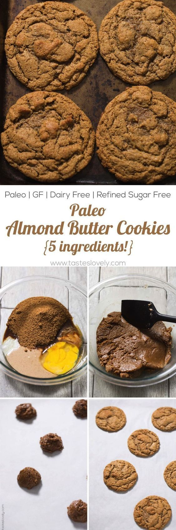 Paleo Almond Butter Cookies Recipe - just 5 ingredients! Paleo, dairy free, gluten free, grain free, refined sugar free dessert. Try these to satisfy your sweet tooth! #TastesLovely #paleocookies #glutenfreecookies #paleo #glutenfreedessert