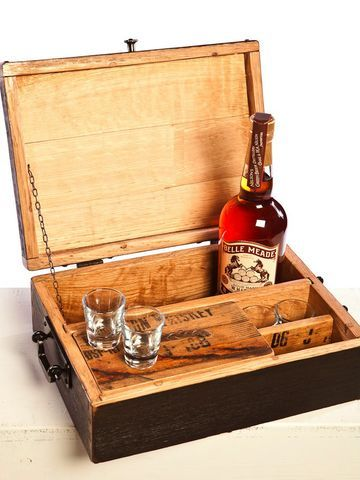 For Dad This Box Made Of Whiskey Staves Has Room For Shot