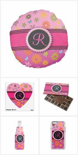 Flower Power Sixties Pink Feminine Monogram