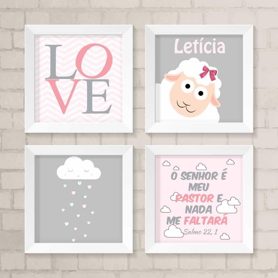 Kit De Quadrinhos Love Molduras Brancas Quadros Decorativos E  ~ Como Fazer Quadros Decorativos Para Quarto De Bebe