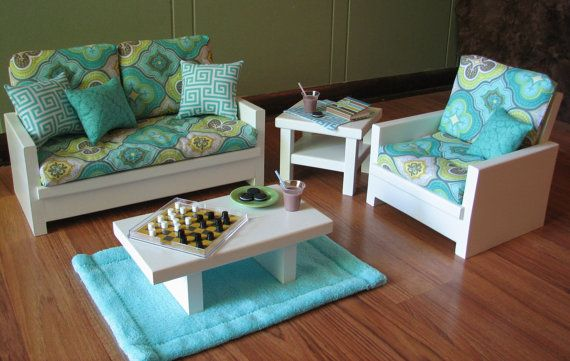 18 Doll Furniture - American Girl sized Living Room - Loveseat / Chair / Coffee Table / End Table / Lamp / Rug